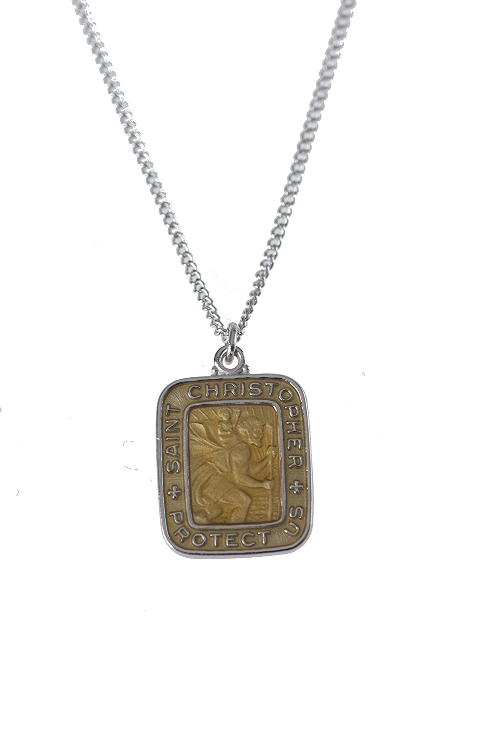 a7b2bf33b3aa3 Sterling St Christopher Medal, Golden Rod Epoxy, 18