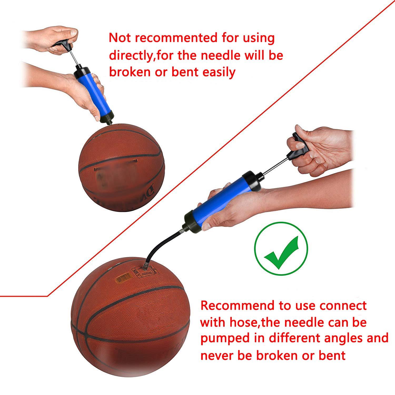 Bomba de bola con agujas: estable y fiable Bomba de aire para su fútbol, pelota de rugby, voleibol, baloncesto, balonmano y otros pelotas inflables, ...