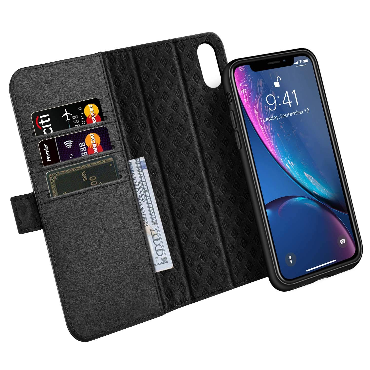 ZOVER Detachable Wallet Case Compatible with iPhone XR with RFID Blocking Kickstand Feature Genuine Leather Card Bison Fone Slots Magnetic Clasps Gift Box Black by ZOVER