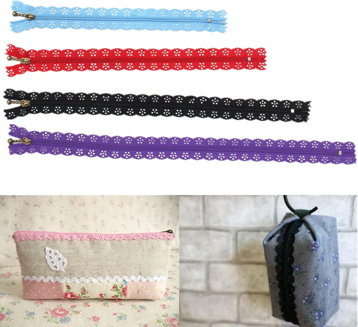 1 x 20cm ZIP with fancy lace edge Several colours to choose from UK Seller