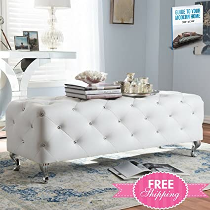 Amazon.com: Upholstered Bed Bench White Tall Foot Of Bed ...