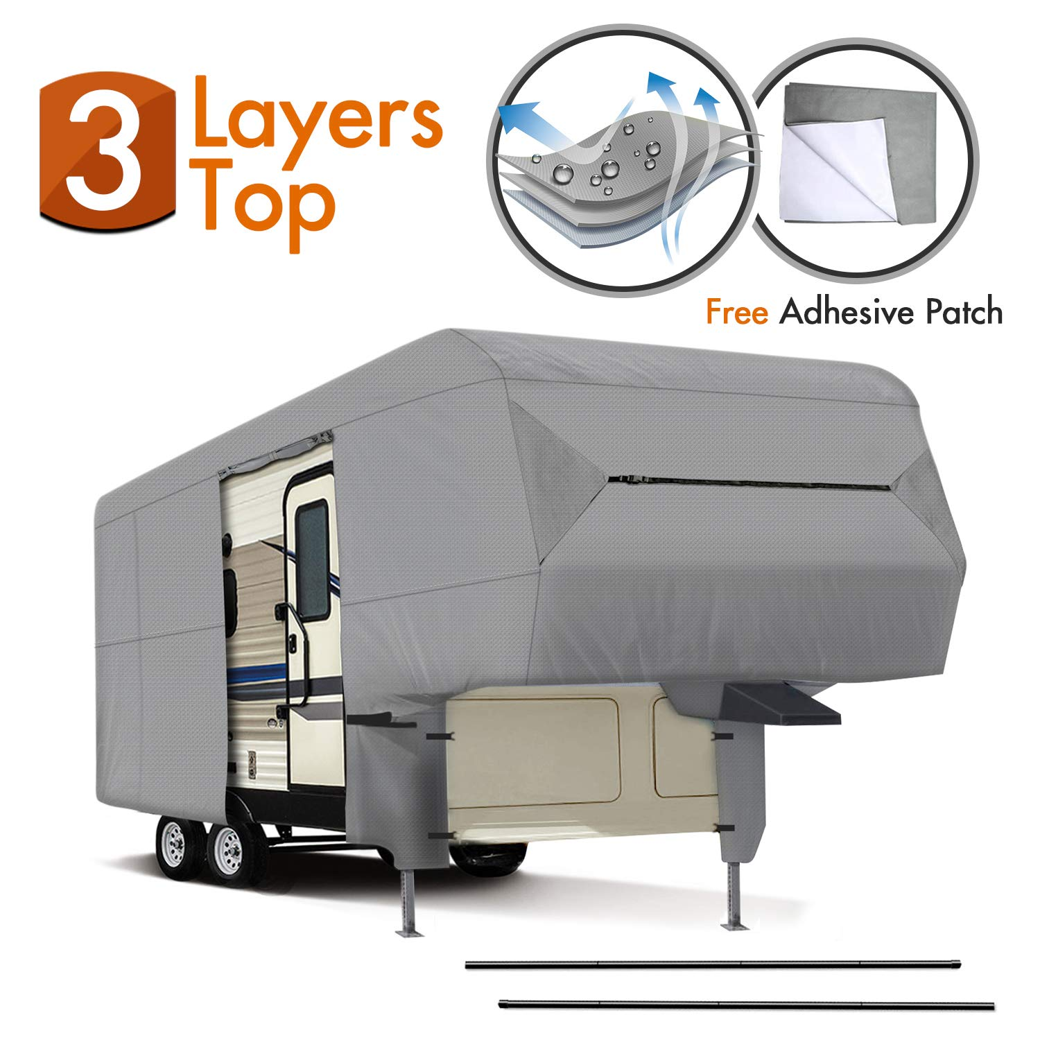XGEAR Easy Setup 5th Wheel rv Cover 29'-33' Thick 3-Ply Top Panel - Ripstop Waterproof RVs Covers with a Pair of Assist Steel Pole by XGEAR