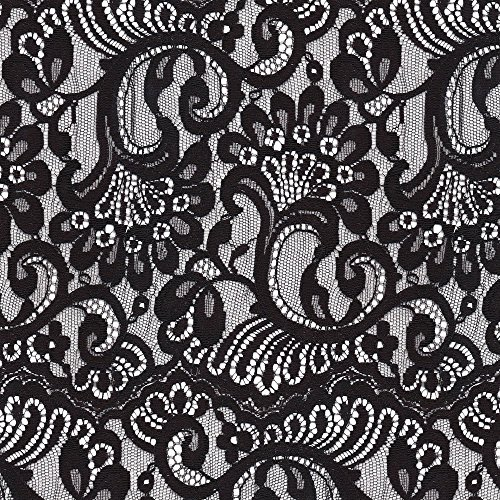 Lace Fabric Large Black Lace by Bonnie Phantasm Printed on Modern Jersey Fabric by the Yard by Spoonflower