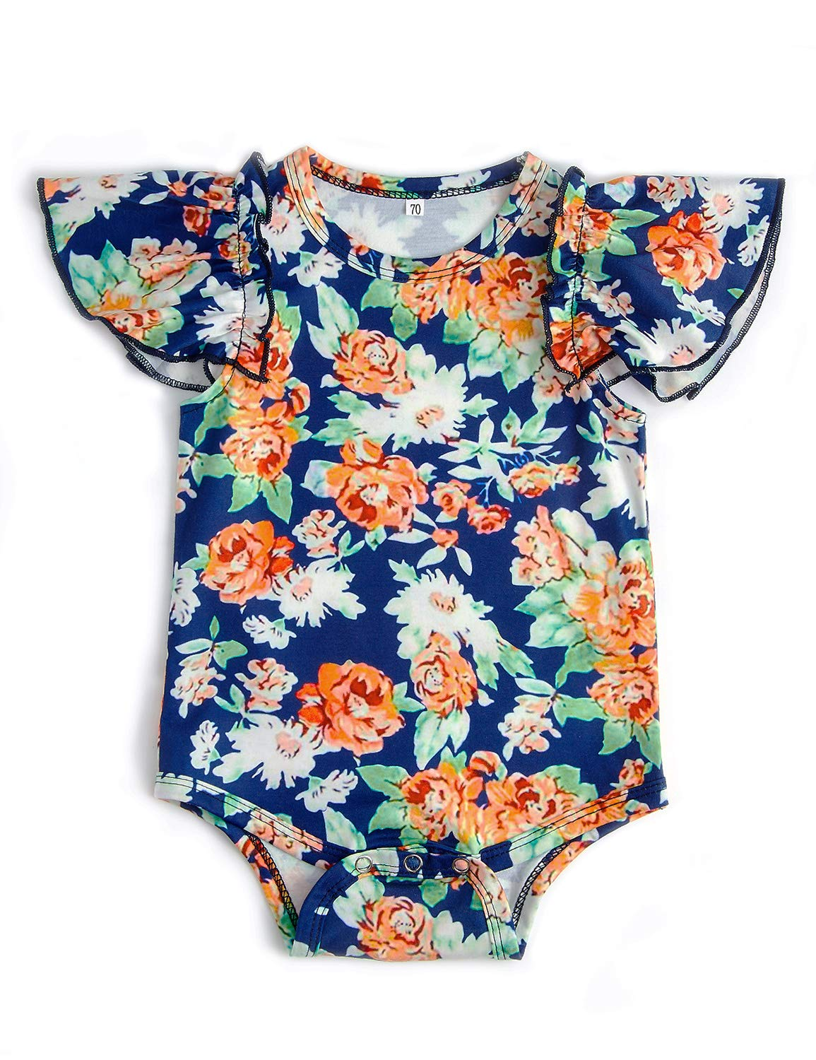 Leapparel 0-6 Months Newborn Girl Romper Unisex Baby Jumpsuit Classical Orange Flower Print Playsuit Snap Button Easy to Change Diaper