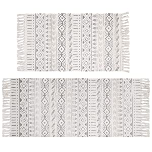Pauwer Cotton Area Rug Set 2 Piece 4.2'x2'+3'x2' Hand Woven Cotton Rugs with Tassel Washable Cotton Throw Rug Runner for Kitchen, Living Room, Bedroom, Laundry Room, Entryway