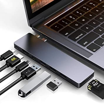"HyperDrive USB Type-C Hub Adapter 50Gbps MacBook Pro 2018 2017 2016 13/"" 15/"" 4K"