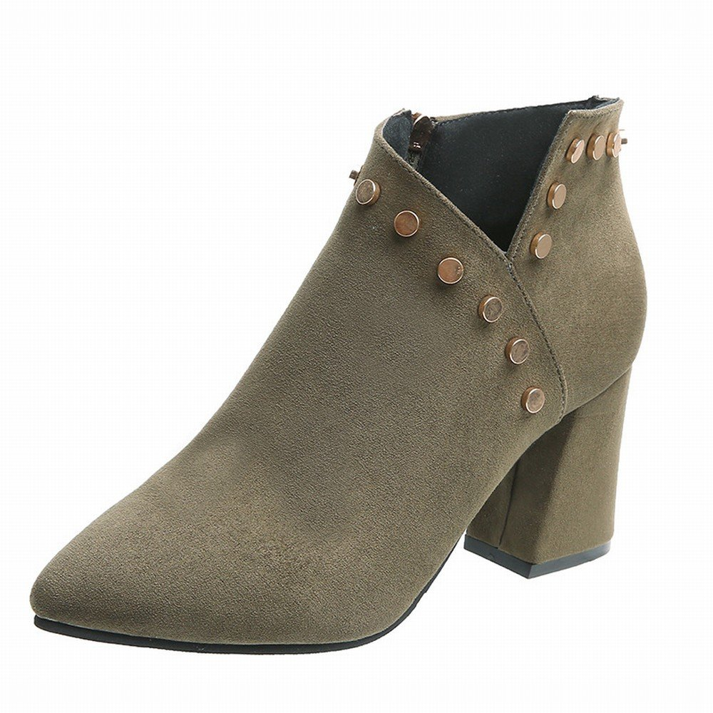CXY Add Samtspitze Einzelne Herbst Schuhe High Heels Wildleder Seite mit Einem Niet V-Seite Reißverschluss Schuhe Grün 39