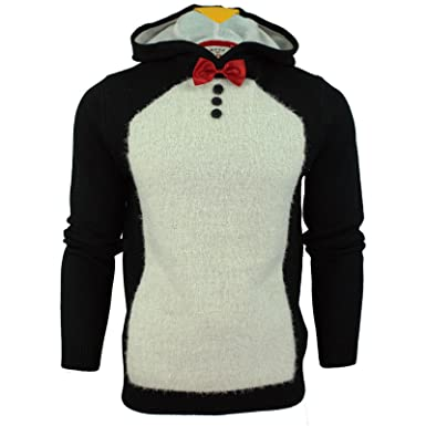 c43c4498 Threadbare Mens Xmas Christmas Jumper 3D Hoodie' Penguin: Amazon.co.uk:  Clothing
