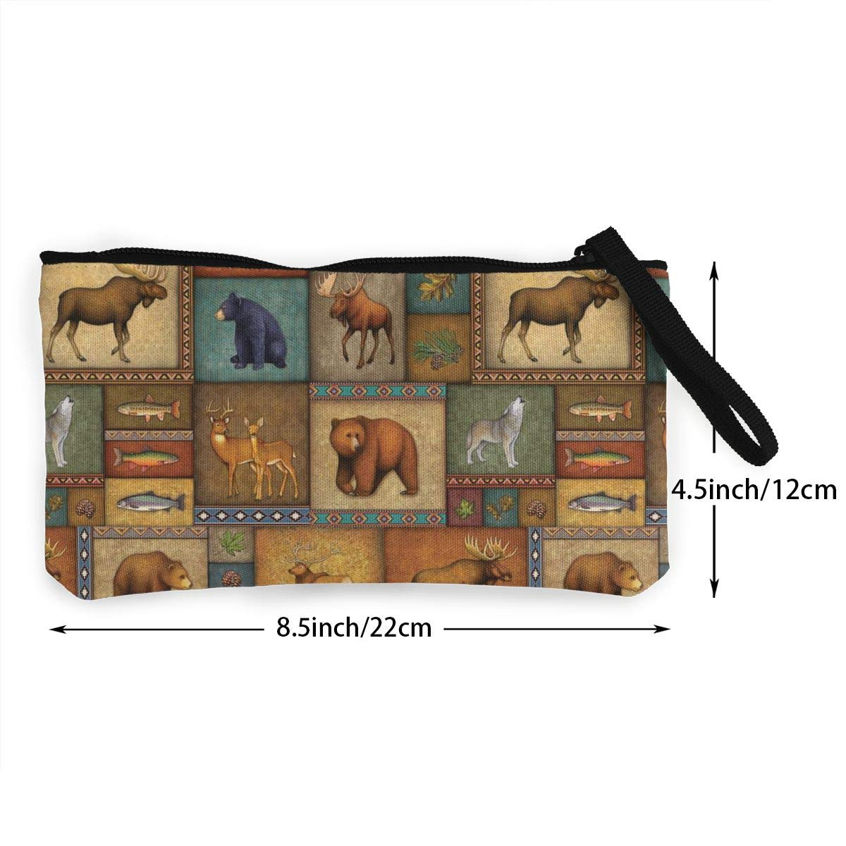 Make Up Bag,Cellphone Bag With Handle Rustic Wildlife Bear Deer Moose Wolf Zipper Canvas Coin Purse Wallet