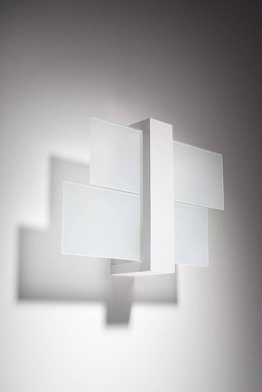 Sollux Lighting SL.0079 Lámpara de pared cuadrada para salón y dormitorio, cristal y madera LED E 27 LEUCHTEN Bei Amazon por el precio más barato