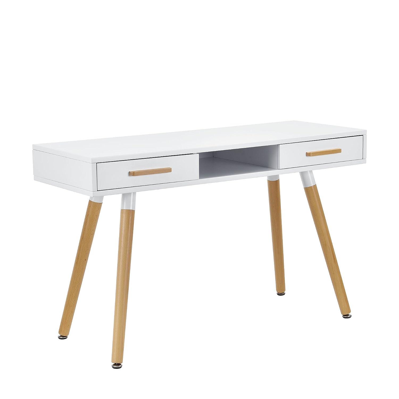 Schön Schreibtisch Weiß Mit Schubladen Das Beste Von [en.casa] Retro (75x120x45cm) Weiß Matt Lackiert Schubladen:
