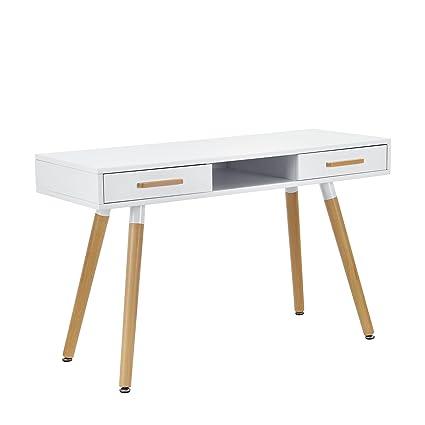 Encasa Retro Schreibtisch 75x120x45cm Weiß Matt Lackiert Mit