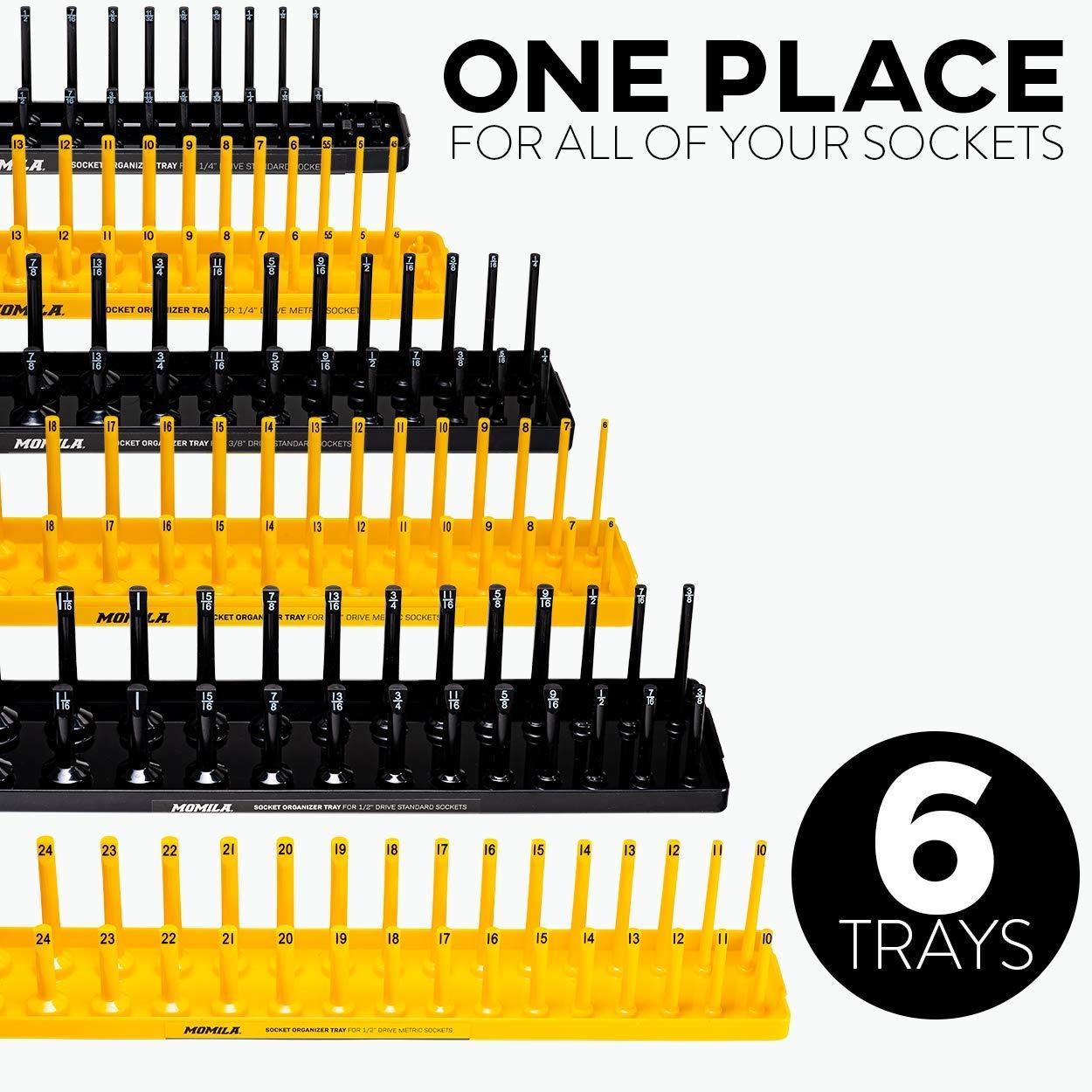 Socket Organizer Trays - 6 Piece Socket Tray Set Black SAE & Yellow Metric | 1/4-Inch, 3/8-Inch & 1/2-Inch Drive Socket Holder | Premium Quality Tool Organizers by Momila (Image #2)