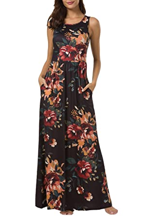 1a720682064ace Zattcas Maxi Dresses for Women,Womens Crew Neck Sleeveless Summer Floral Maxi  Dress with Pockets