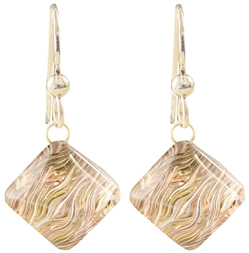 Sparkly Geometric Pyramid Shaped Dangle Earrings with Handwoven 14K Yellow and Rose Gold-Filled Wire and Glass Unique Jewelry Gift Idea for Women