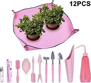 Homend Garden Kneelers Gardening Transplanting Pot Pad Mini Garden Hand Transplanting Succulent Tools for Indoor Garden Plant Care Work Cloth Anti Dirty (11 PCS/Set,Pink)