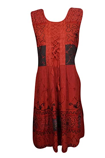 5fc0421975b1 Womens Sundress Red Embroidered Sleeveless Lace Up Beach Dresses at ...