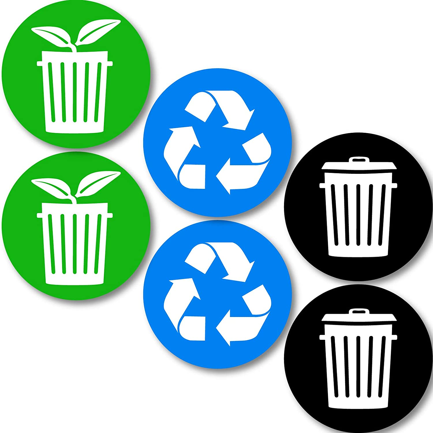 Recycle Trash and Compost Logo Stickers (6 Pack) 4in x 4in - Organize Trash - for Metal or Plastic Garbage cans, containers and Bins - Indoor & Outdoor - Home or Office - Premium (Small, Compost 6pk)
