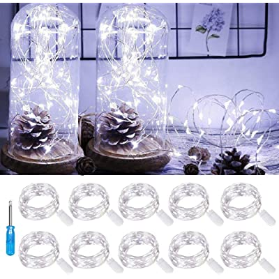 LED Fairy Light String 10 Pack Micro 20 LED Battery Operated Silver Wire String Lights Mini Waterproof Twinkle Star Starry Lights Mason Jar Lights for DIY Party Wedding Bedroom Decor(Cool White) : Garden & Outdoor