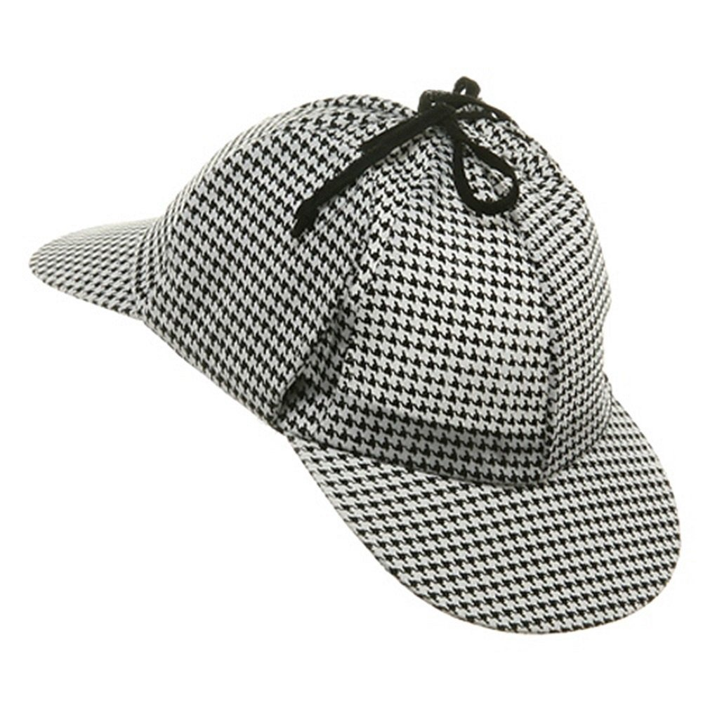DETECTIVE SHERLOCK HOLMES HAT AND PIPE SET HOUNDS TOOTH STYLE HAT COSTUME  KIT Christmas presents c1cd138d608
