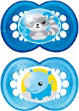MAM Original Soothers with Sterilisable Travel Case (12 Months Plus, Blue)