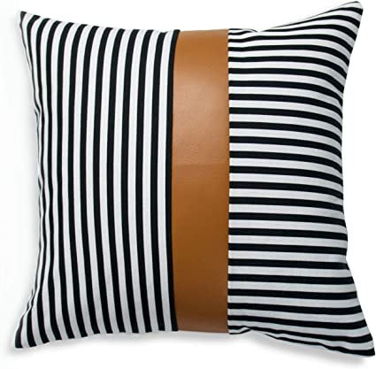 Fast shippingcaramel faux leather pillow cover-old look pattern-back side suedescandinavian home decorhousewarming gift-1pc