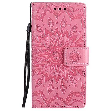 DENDICO Funda Huawei P8 Lite 2015/2016, Libro Estilo de PU Cuero Carcasa Impresión Flip Protectora Funda para Huawei P8 Lite 2015/2016 - Rosado