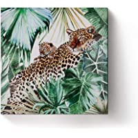Tropical Plants Canvas Art Wall Decor Hand Painted of Monstera Palm Banana-Modern Home Decor Stretched and Framed Ready to Hang 35.4x35.4in