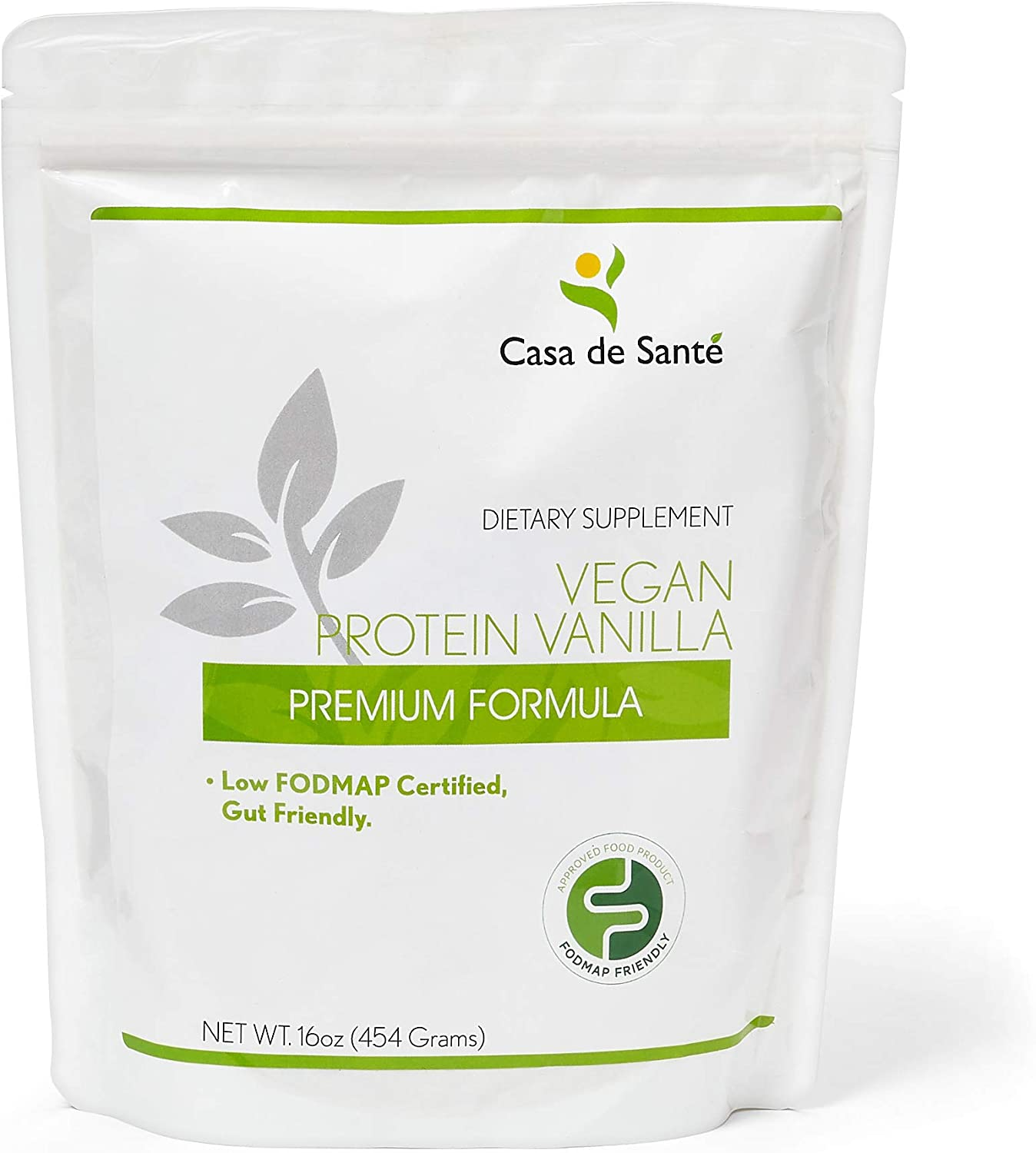 Low FODMAP Certified Vegan Protein Powder for IBS & SIBO Gluten & Dairy Free Soy Free Sugar & Grain Free Low Carb All Natural Gut Health Food, Superfoods, Stevia, Monk Fruit - Casa de Sante (Vanilla)