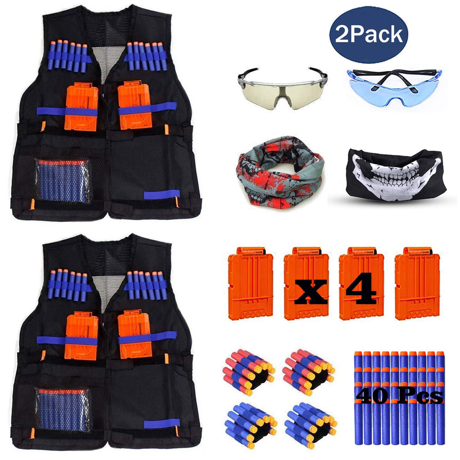 b559d82167e 2 Pack Set Kids Tactical Jacket Vest Kit for Nerf N-Strike Gun Wars ...