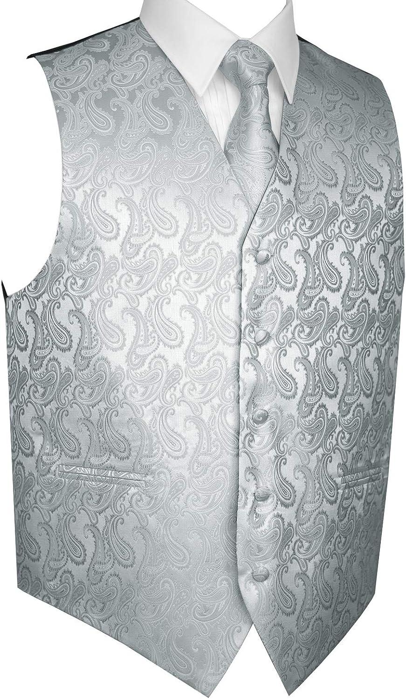 Brand Q Men's Formal Prom Wedding Tuxedo Vest, Tie & Hankie in Silver Paisley