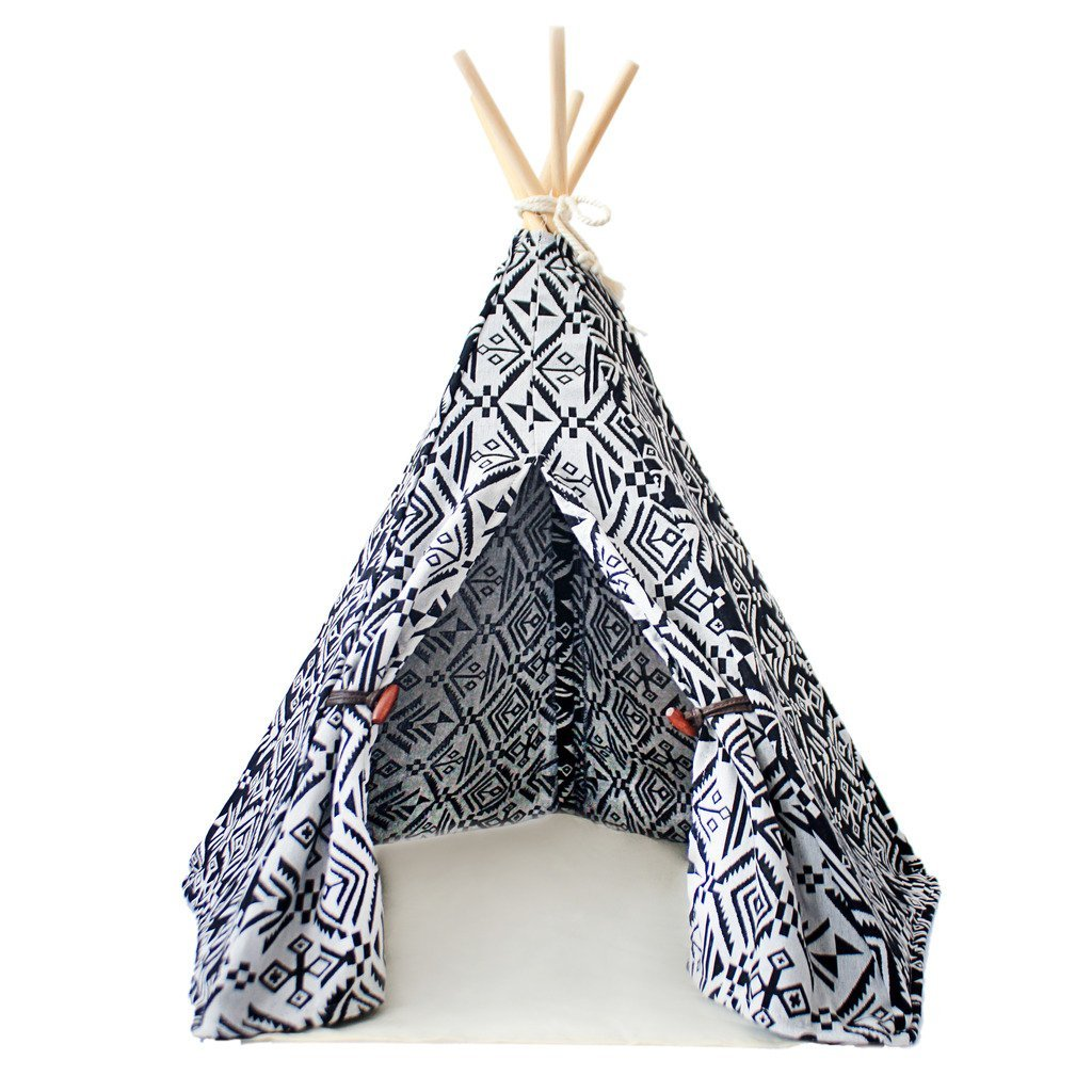 little dove Pet Teepee Dog(Puppy) & Cat Bed - Portable Pet Tents & Houses for Dog(Puppy) & Cat Indian Style 24 Inch no Cushion by little dove (Image #1)
