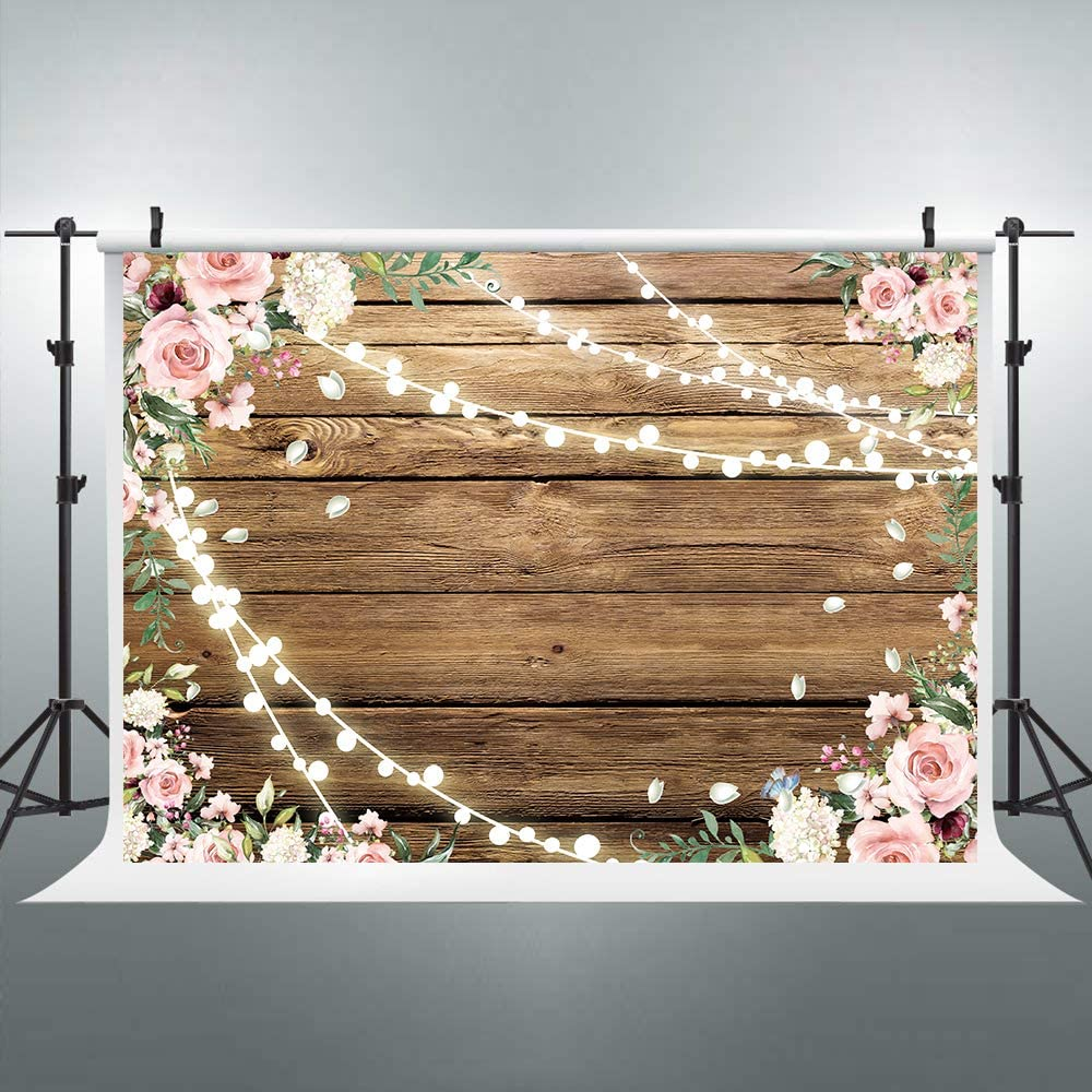 Riyidecor Rustic Pink Flowers Floral Shiny Light Brown Wooden Backdrop Mother's Day Wedding 7x5ft Photography Background Bridal Anniversary Decorations Banner Props Festival Photo Shoot Vinyl Cloth