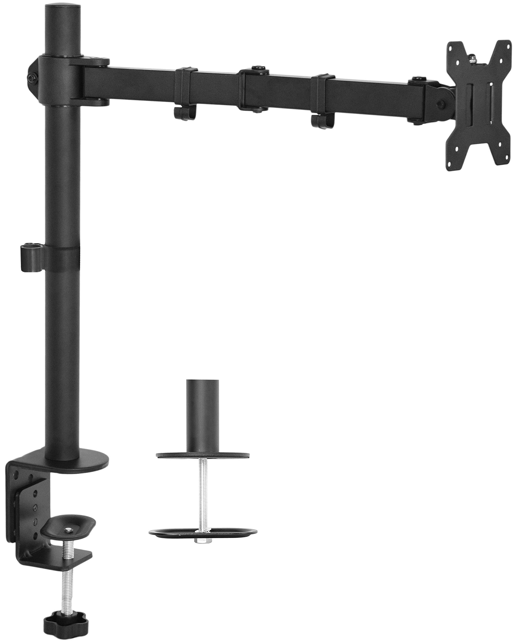 VIVO Single LCD Monitor Desk Mount Stand Fully Adjustable/Tilt/Articulating for 1 Screen 13'' to 27'' (STAND-V001) by VIVO