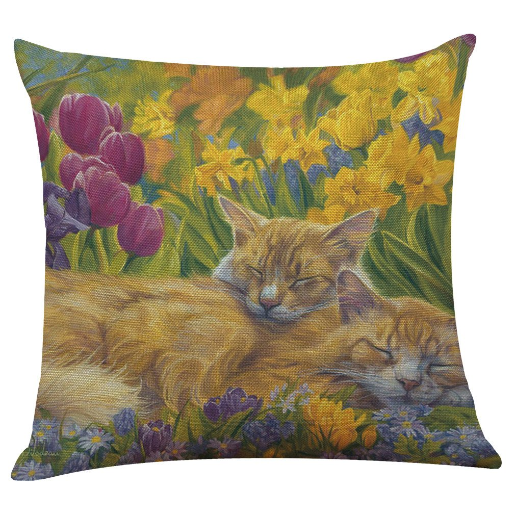 Pgojuni Lovely Cat Flax Pillowcase Decorative Throw Pillow Cover Cushion Cover Pillow Case Sofa/Couch 1pc (43cmX43cm) (I)