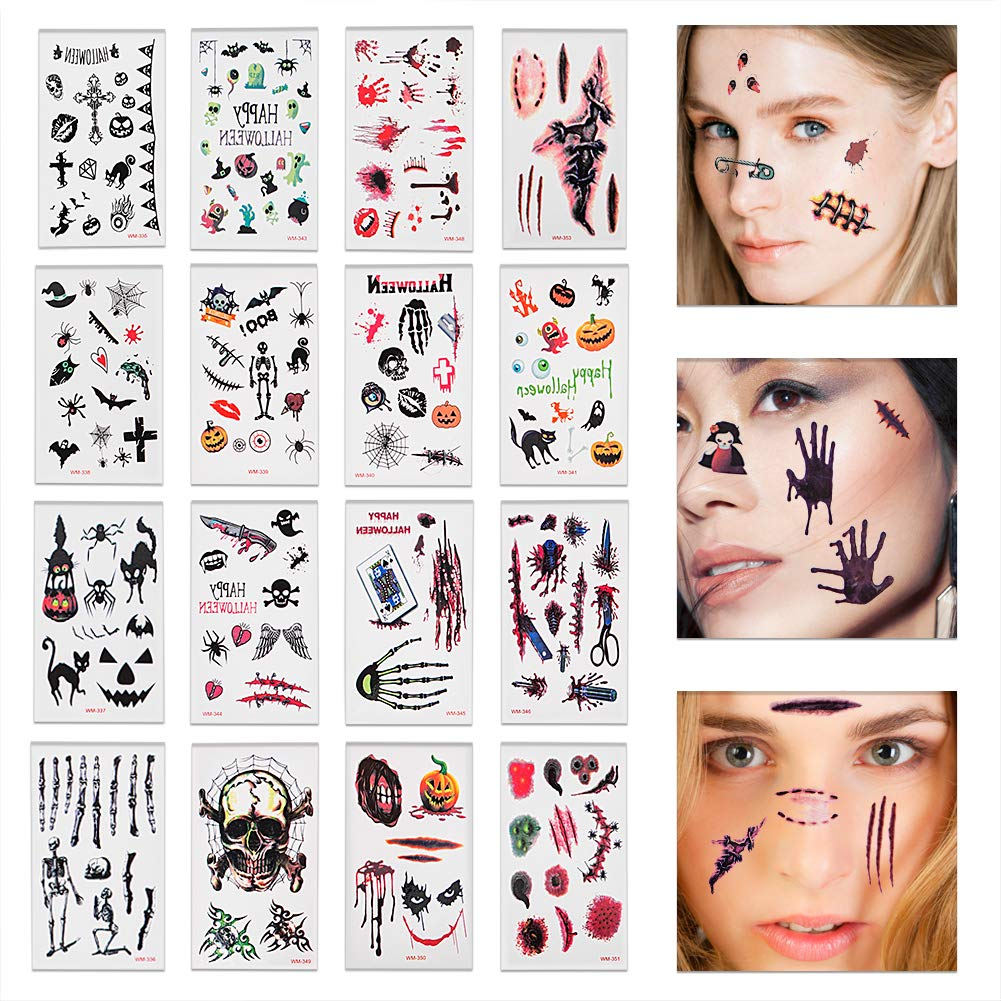 FaCraft 19 Sheets Halloween Temporary Tattoos Stickers,Horror Scar Bloody Wound Scab Decals