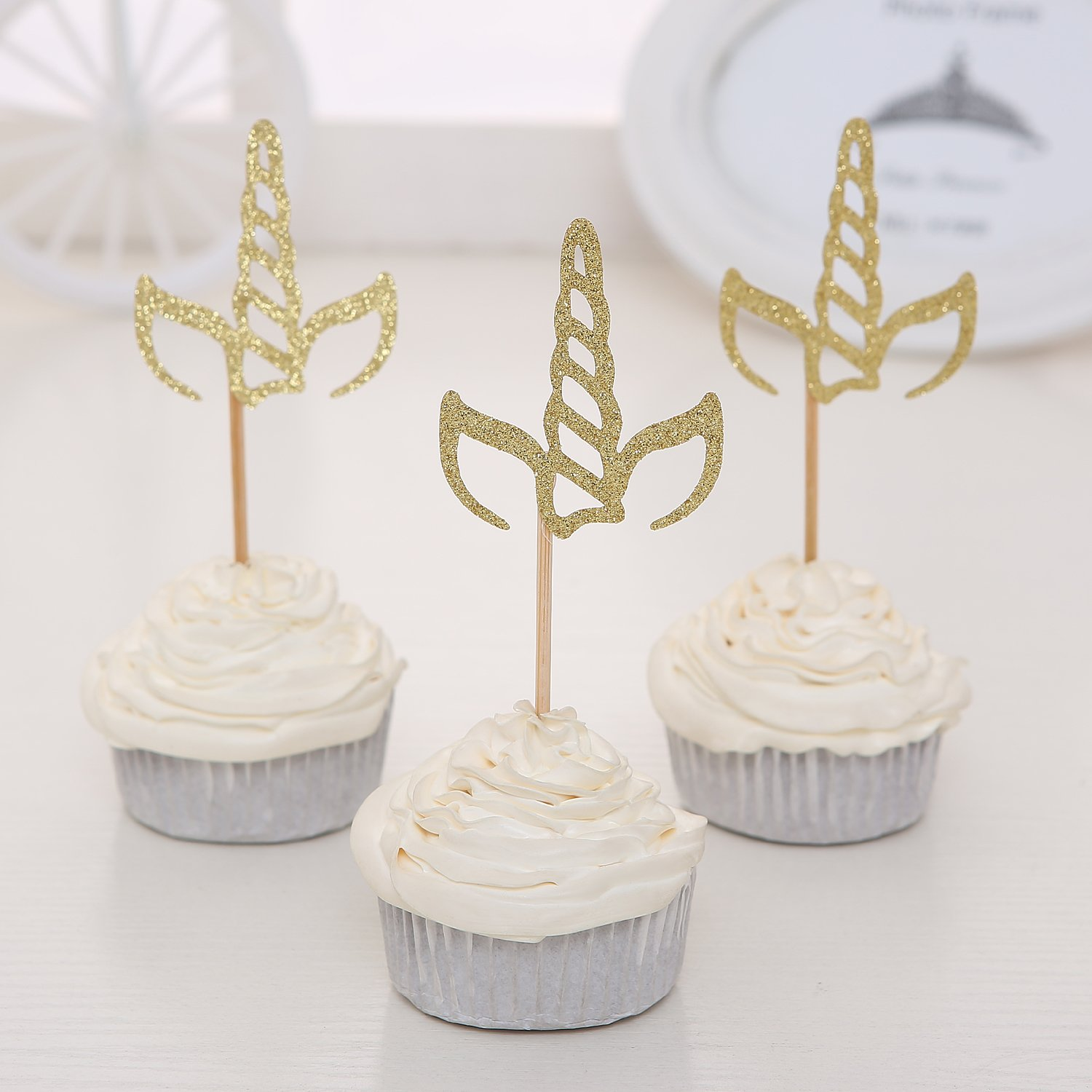 Giuffi Set of 24 Golden Glitter Unicorn Horn Theme Cupcake Toppers Kid's Party Baby Shower Decors - by