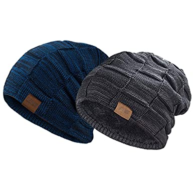 REDESS Beanie Hat for Men and Women Winter Warm Hats Knit Slouchy Thick  Skull Cap( 6332072db04