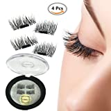 Magnet False Eyelashes, 3D Natural Reusable Eyelashes Extension , No Glue Eye Lashes , Natural Look Fiber False Eyelashes Extension, Thick Black Long Charming Eyelashes -1 pair (4 piece)