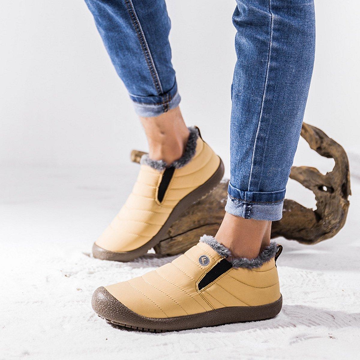 ab23374bf3f welltree Mujeres y hombres Botines de nieve para tobillo Zapatos de invierno  Forro de piel caliente Zapatillas impermeables al aire libre Amarillo