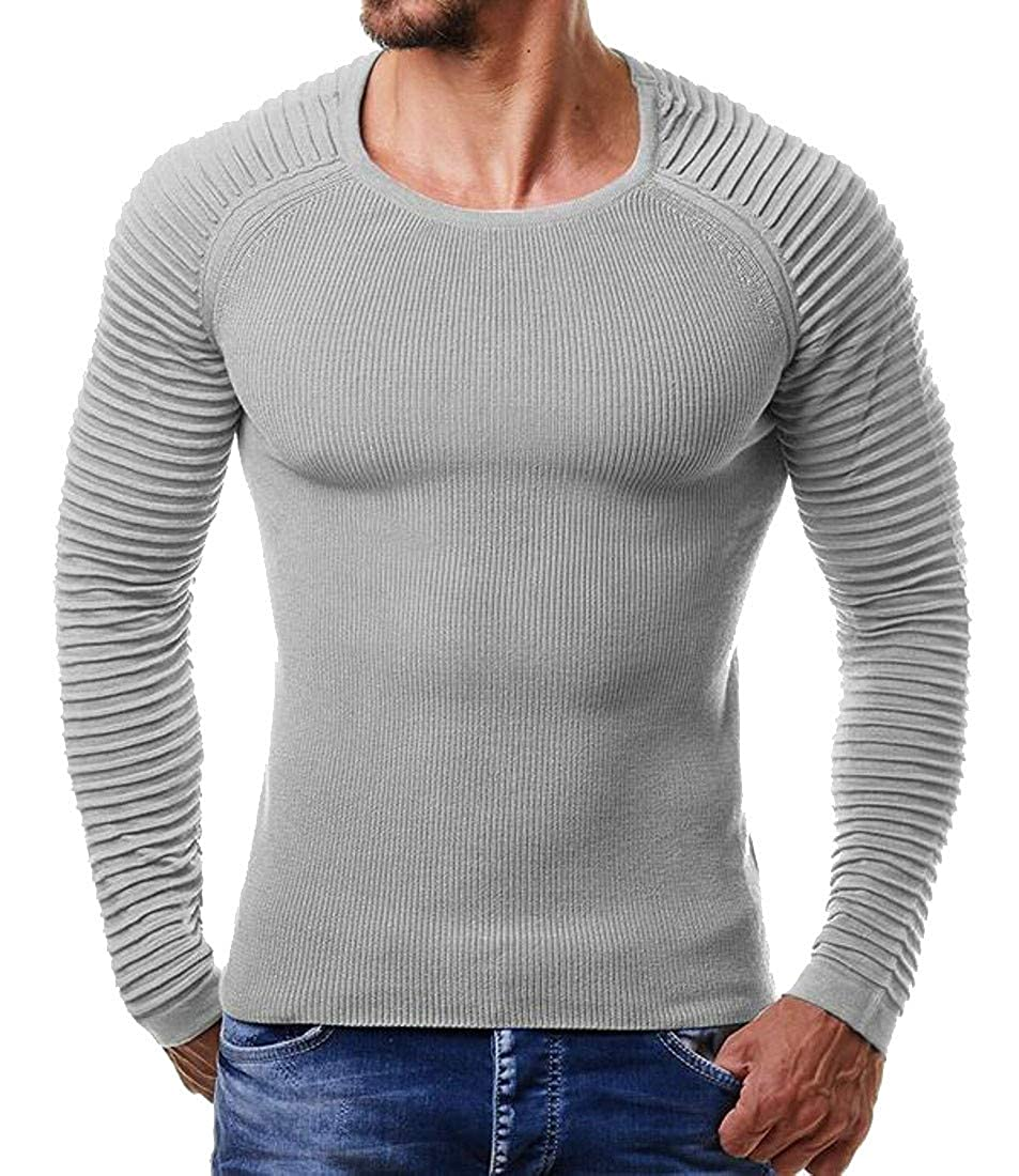 Wofupowga Mens Casual Round Neck Knits Pleated Solid Pullover Jumper Sweaters
