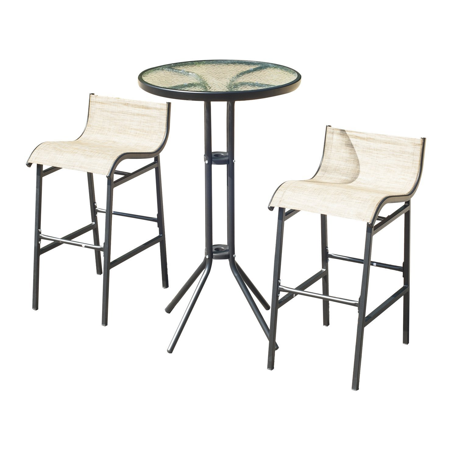 Outsunny 3 pc Outdoor Patio Pub Bistro Table & Chairs Set by Outsunny (Image #4)