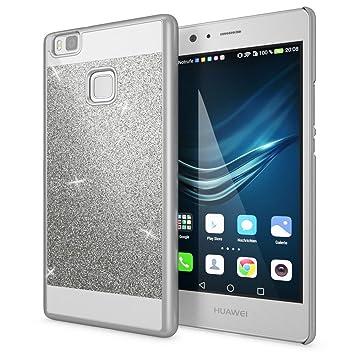NALIA Funda Carcasa Compatible con Huawei P9 Lite, Protectora Movil Purpurina Cubierta Dura Delgado Glitter Hard-Case, Telefono Bumper Smart-Phone ...