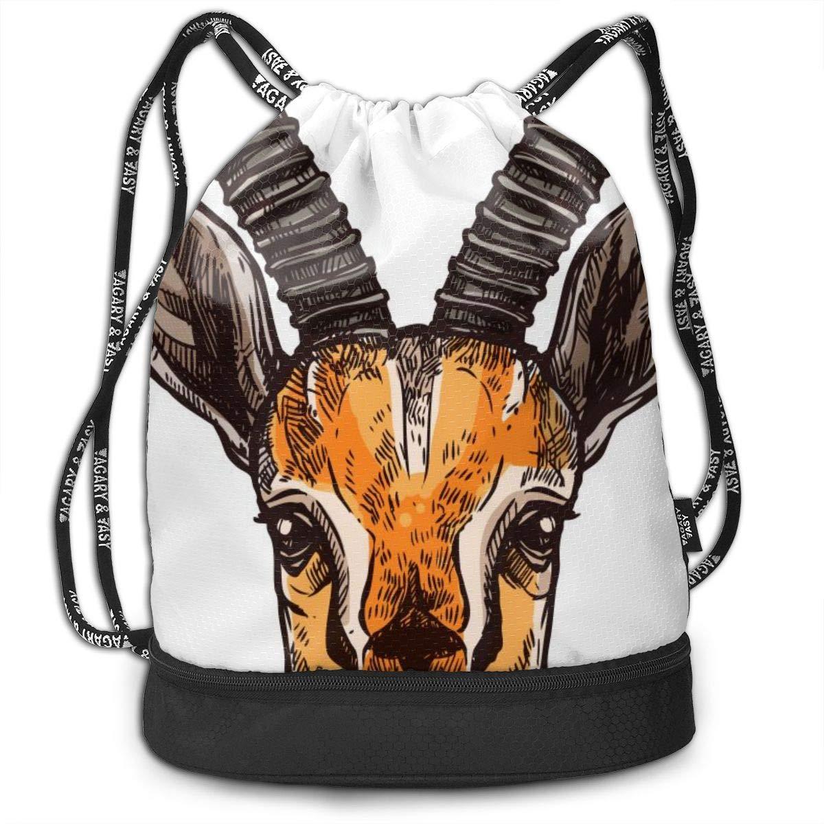 Lightweight Waterproof Large Storage Drawstring Bag For Men /& Women African Antelopes Cinch Backpack Sackpack Tote Sack