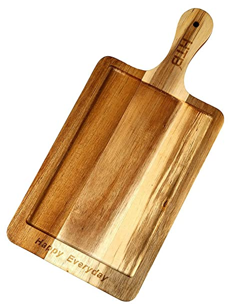 Amazon com: Acacia Wood Paddle Serving Board HAPPY EVERYDAY
