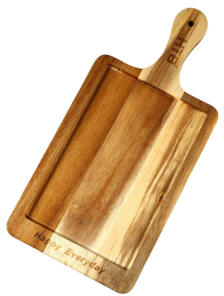 Acacia Wood Paddle Cutting & Serving Board, 15 x 7.1 Inch Cooked Food Slicing Board By HTB