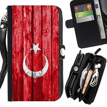 FJCases Turquía Turco Bandera con Patrón de Madera Carcasa ...