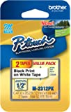 Brother Printer Black on White Tape for P-Touch Labeler (2 Pack) (M2312PK)