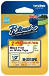 "Brother Genuine P-Touch M-2312PK Tape, 2 Pack, 1/2"" Wide Standard Non-Laminated Tape, Black on White, Recommended for..."