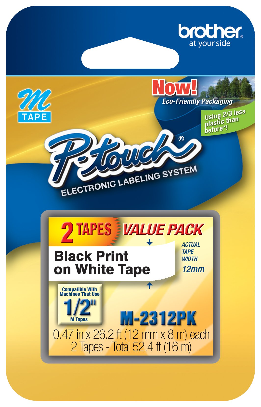 Brother Genuine P-touch M-2312PK Tape, 2 Pack, 1/2'' (0.47'') Wide Standard Non-Laminated Tape, Black on White, Recommended for Home and Indoor Use, 0.47'' x 26.2' (12mm x 8M), 2-Pack, M2312PK, M231